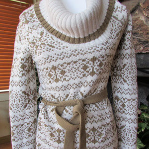 Ann Taylor Belted Cowl Ski Sweater SZ S